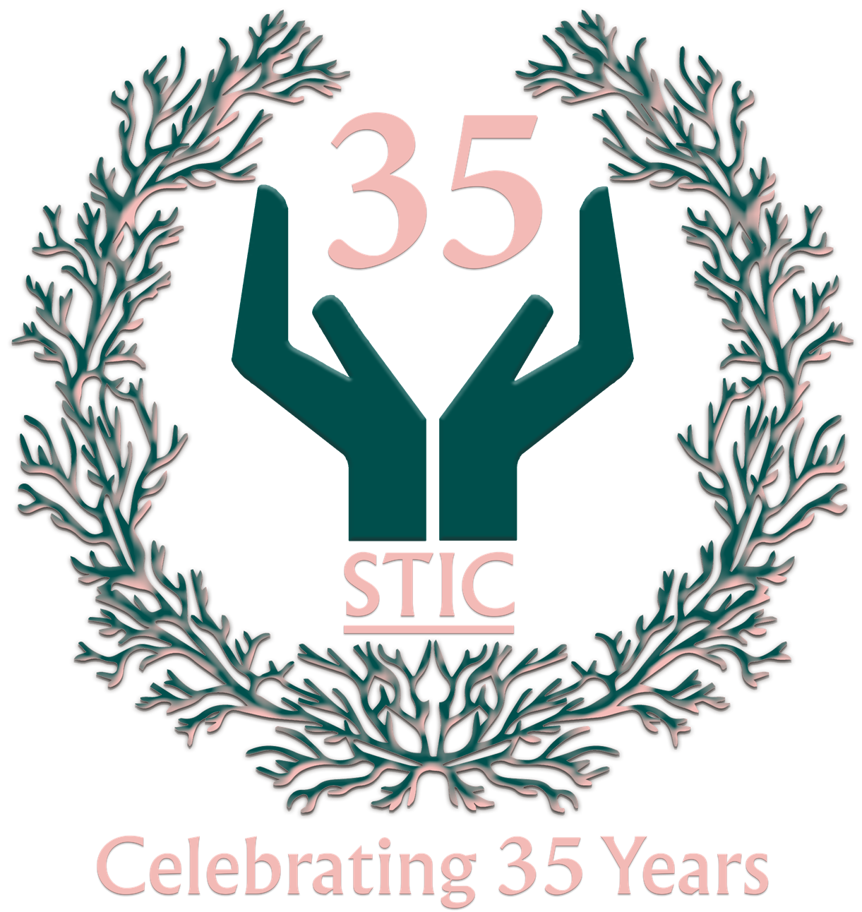 35 year logo, with coral reef laurel and stic logo hands holding the number 35